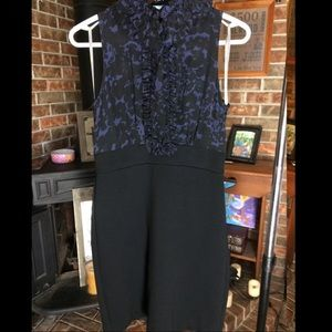 Taylor Ruched Ruffle Neck Sheath Pencil Dress